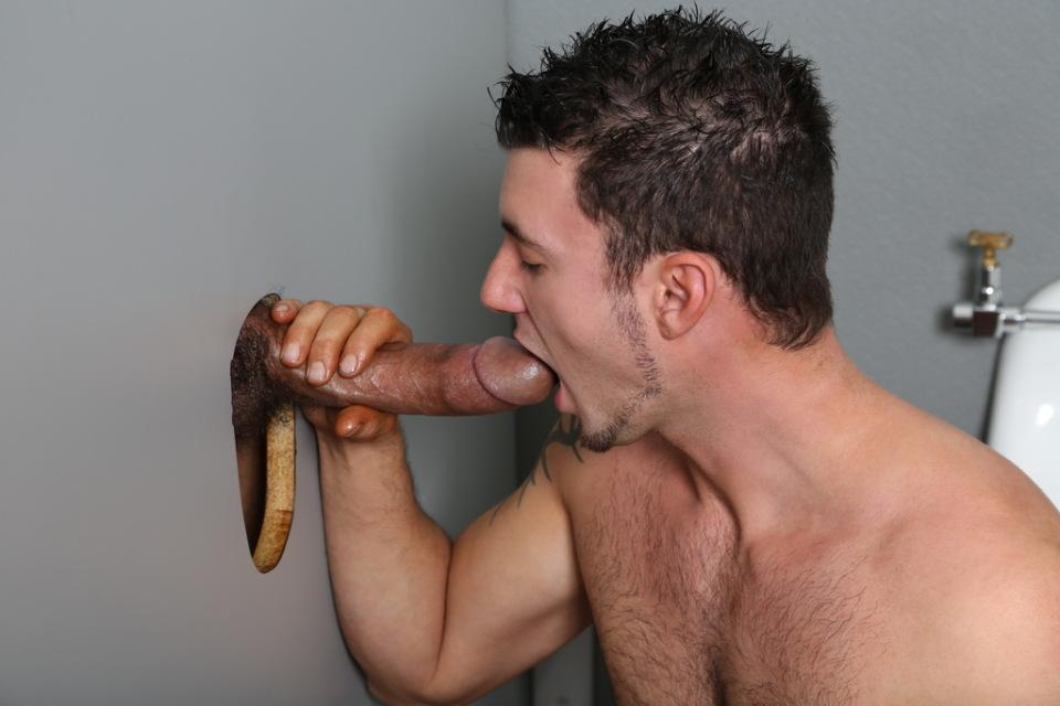 Gay man sucking dick trough the hole